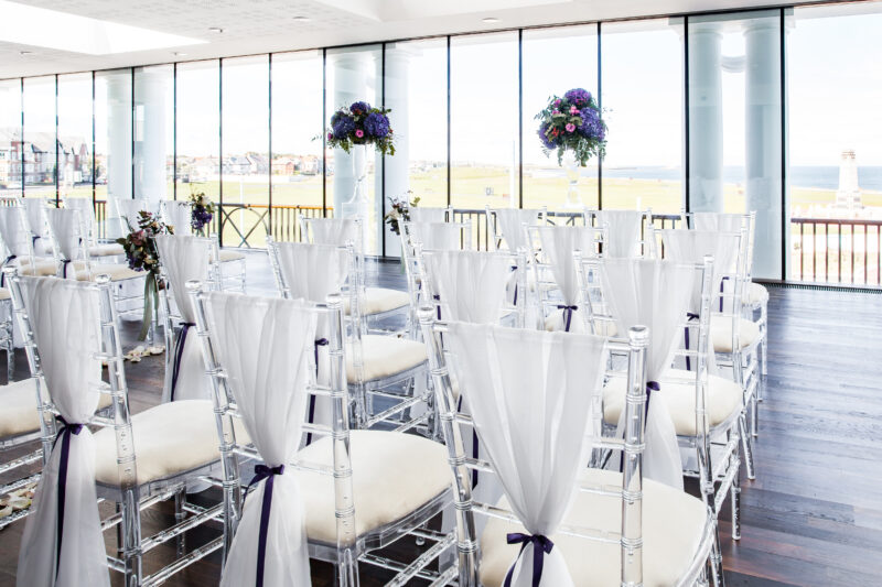The wedding function suite dressed for a wedding ceremony