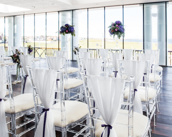 St Mary's function suite set up for a wedding ceremony