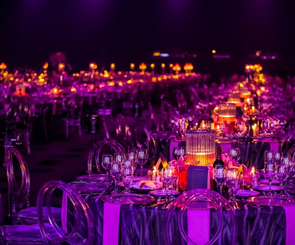 Circular tables set up for a ball