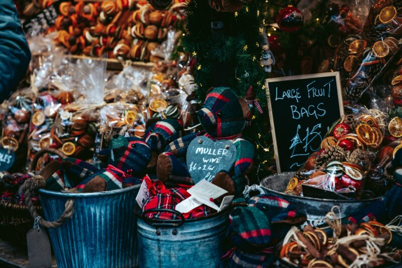 A close up of a Christmas market stall
