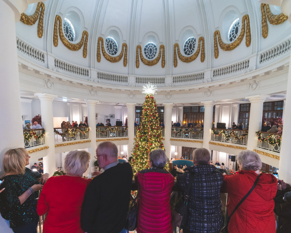 Guests watch the Christmas Tree Light Switch On