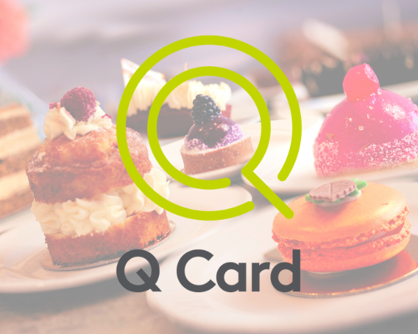 The Q Card logo layered on top of picture of cakes from Valeries